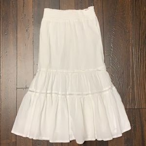 Long white cotton skirt with beautiful detailing.